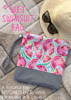 Sew a wet swimsuit bag! 12 sewing projects for summer fun! + free patterns + tutorial fabric head band hair tie head wrap diy hair band easy sewing projects for beginners elastic Sewing Hacks, Sewing Tutorials, Sewing Crafts, Sewing Tips, Wet Bag Tutorials, Diy Crafts, Diy Mode, Love Sewing, Sewing Projects For Beginners