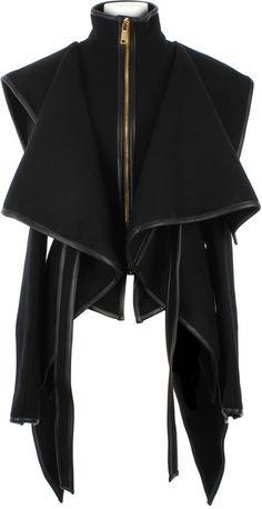 Virgin Wool and Lambskin Asymmetrical Jacket - Lyst