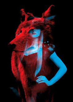 Loup - Bêtes de Mode (Fashion Animals) by Helmo (graphic design duo Thomas Coudred and Clement Vauchez) -- blue portraits + red animal portraits superimposed and displayed in the windows of the Lafayette Galleries on Hausmann Boulevard. Multiple Exposure, Double Exposure, Beast Mode, Foto 3d, Art Photography, Fashion Photography, Narrative Photography, Exposure Photography, Contemporary Photography