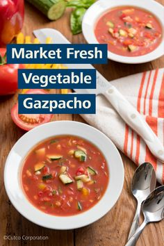 Produce is at the heart of this recipe for Market Fresh Vegetable Gazpacho. Bell peppers, tomatoes and onion give it some zip, while the coolness of cucumber adds refreshing flavor. Kitchen Recipes, Wine Recipes, Creole Kitchen, Tomato Gazpacho, Chilled Soup, White Balsamic Vinegar, Healthy Menu, Toasted Almonds, Fresh Vegetables