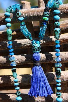 Rain Dance Lampwork Necklace by glass artist Jenelle Aubade