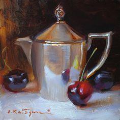 Creamer and Cherries by Elena Katsyura Oil ~ 6 x 6