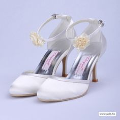 """vintage wedding dresses Attractive 3"""" Hand Made Flower Almond Toe D'Orsay - White Satin Wedding Shoes (11 colors) $62"""