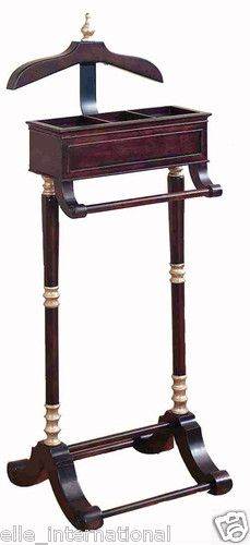 Gentlemen's Clothes Valet Coat Pant Hanger Jewelry Box Mahogany New Free Shippng | eBay