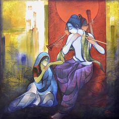 Sarita_Creations Krishna and Meera Red Blue Art Frameless Cotton Cloth Wall Canvas Painting Krishna Painting, Krishna Art, Hare Krishna, Krishna Leela, Krishna Statue, Krishna Images, Om Namah Shivaya, Kahlil Gibran, Carl Jung