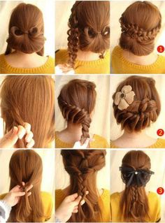 Awesome and Sexy hairstyles for Gorgeous party- Buns with braids, and braids with knots...