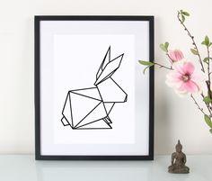 Illustration mit geometrischen Hasen, Origami / artprint geometrical bunny by Eulenschnitt via DaWanda.com