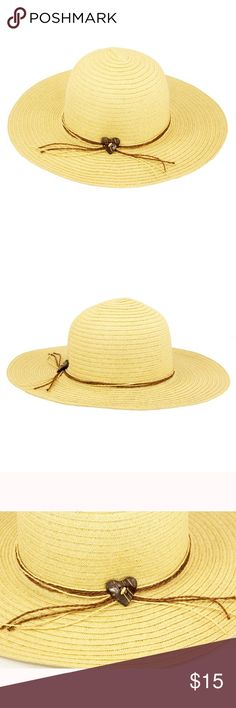 New women's floppy sunday hat. Paper straw floppy hat with coconut heart detail and strings band. 4 inch brim. One size fits most women (head circumference is about 57cm) The Hatter Company Accessories Hats