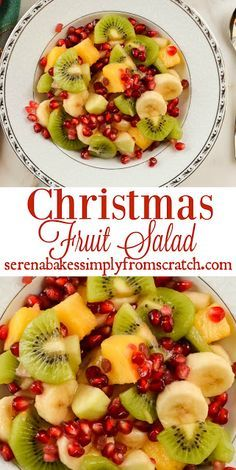 Christmas Fruit Salad is a favorite in our house over the holidays and is filled with winter fruit! serenabakessimplyfromscratch.com