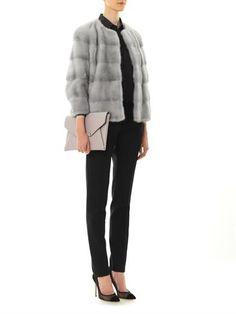 Lilly E Violetta 'Sarah' mink fur jacket | Saint Laurent polka-dot silk shirt & satin-stripe wool trousers | Givenchy 'Antigona' leather envelope clutch | Gianvito Rossi mesh and suede pumps