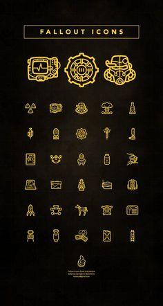 Fallout Icons Created by Vladimir Demchen Fallout Rpg, Fallout Fan Art, Fallout Cosplay, Fallout Game, Bioshock Cosplay, Fallout Vault, Fallout New Vegas, Nail Bat, Skyrim