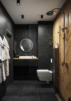 Small Dark Bathroom, Wet Room Bathroom, Small Toilet Room, Dark Bathrooms, Tiny House Bathroom, Washroom Design, Bathroom Design Small, Bathroom Interior Design, Loft Interior