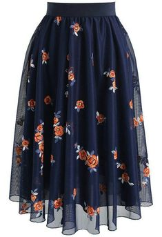 Trig Florets Mesh Midi Skirt in Navy- New Arrivals - Retro, Indie and Unique Fashion - Tap th Modest Fashion, Unique Fashion, Look Fashion, Fashion Dresses, Womens Fashion, Fashion Trends, Maxi Dresses, Fashion Ideas, Mode Outfits