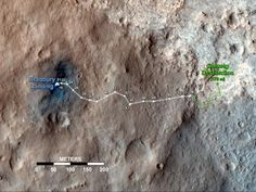 his map shows the route driven by NASA's Mars rover Curiosity through the 56th Martian day, or sol, of the rover's mission on Mars (Oct. 2, 2012).  The route starts where the rover touched down, a site subsequently named Bradbury Landing. The white line extending toward the right (eastward) from Bradbury Landing is the rover's path so far, and the green line shows its planned future route.