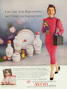 """iconic Avon fragrance ad of Avon lady and phrase """"I am your Avon Representative and I bring you fragrance news"""""""