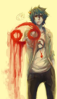 bloody!! His blood color, and he's not afraid to show it off! (humanstuck though so)