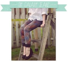 ::: OutsaPop Trashion ::: DIY fashion by Outi Pyy :::: DIY tutorial - galaxy jeans