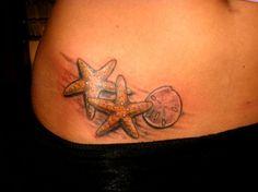 starfish & sand dollar hip tattoo