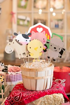 Farm Animal Centerpieces, Farm Animal Birthday Party Decor, Animal Themed Party Centerpieces, Farm Animal Themed Baby Shower Centerpieces - Excited to share this item from my shop: Farm Animal Centerpieces, Farm Animal Birthday Party - Animal Themed Birthday Party, Farm Animal Birthday, Farm Birthday, First Birthday Parties, Petting Zoo Birthday Party, Girl Birthday Party Themes, Farm Themed Party, Birthday Banners, 1st Birthdays