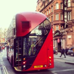 London bus on Shaftesbury Avenue! We love this new design for the number 38 bus by Thomas Heatherwick, the British designer who created the Olympic cauldron for #London2012. It is great fun to ride.