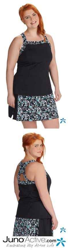 Plus size tankini with cross back. Mix and match many plus size swim tops and bottoms at JunoActive.com
