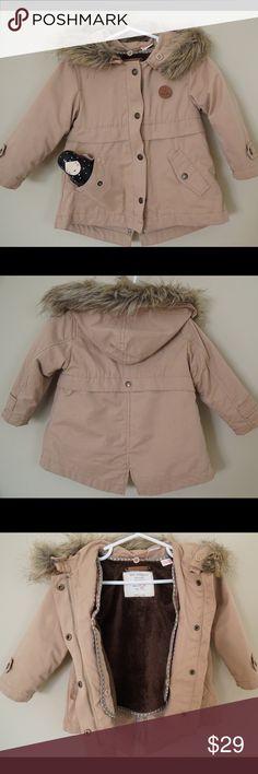 Zara Baby Girl Hooded Coat, size 12/18 months. Zara Baby Girl Hooded Parka, size 12/18 months. Double breasted closure. Detachable fleece lining. Positional front pockets. Worn a few times. Great condition. Zara Jackets & Coats