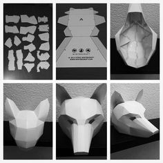 Wintercroft ® - Low-Poly Masks They supply the template. 3d Paper Crafts, Paper Toys, Diy Paper, Fun Crafts, Diy And Crafts, Low Poly Mask, Cardboard Mask, Instruções Origami, Wolf Mask