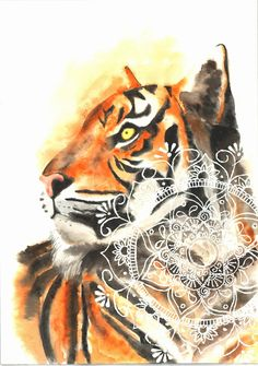 Watercolour Tiger Mandala Painting PRINT A4 by ForeverThatMoment on Etsy