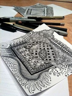 zentangle by kristin  I love how she has done the edges so it isn't just a square