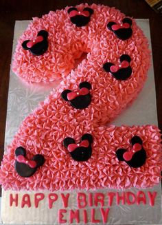 Number 2 , Minnie Mouse Cake, Buttercream with marshmallow fondant toppers :)