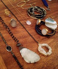 Layered necklaces and bracelets: Mickey Lynn