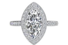 Vintage Halo Micropavé Diamond Band Engagement Ring - in White Gold - (0.29 CTW)