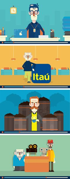 Bem-vindo ao Itaú - Vídeo on Behance Flat Design Illustration, People Illustration, Character Illustration, Graphic Illustration, Simple Character, Character Concept, Character Design, Character Inspiration, Viria