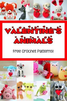 """Free crochet patterns for the cutest Valentine's Day animals ever! Say """"I love you"""" with these sweet amigurumi. Make one for your loved one to snuggle with this Valentine's Day! Crochet Puff Flower, Crochet Flower Patterns, Crochet Patterns Amigurumi, Cute Crochet, Crochet Dolls, Crochet Hearts, Amigurumi Doll, Bookmarks Kids, Crochet Bookmarks"""