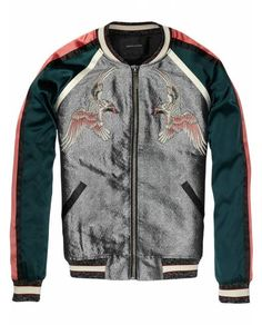 Silky Baseball Jacket With Oriental Embroideries > Womens Clothing > Jackets at Maison Scotch - Official Scotch & Soda Online Fashion & Apparel Shops