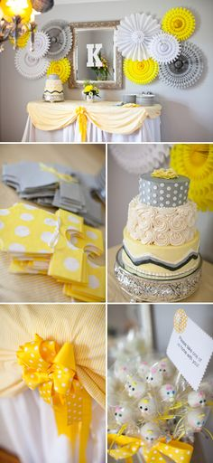 Un baby shower en tonos de amarillo y gris… precioso! / A baby shower in grey and yellow – lovely! 9247 1304 14 FIESTAFACIL Fiesta baby shower / A baby shower Camille Green Kk I will call the bakery see what the cost is. Baby Shower Yellow, Baby Shower Table, Baby Yellow, Gender Neutral Baby Shower, Shower Party, Baby Shower Parties, Baby Shower Wall Decor, Shower Games, Shower Bebe