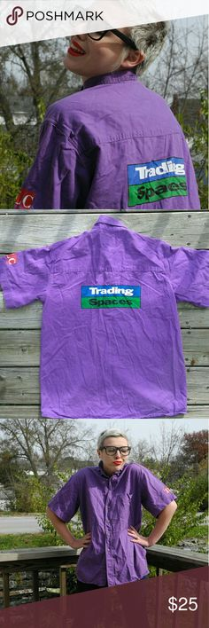 Trading spaces Buttondown  Very unique Trading spaces purple Buttondown 😊 size Xsmall in excellent condition 😍😍 who didn't love this show 😎😎super cool find!!! Vintage Tops Button Down Shirts