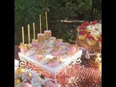 How to style a Quinceanera Dessert Table using Opulent Treasures chandelier cake stands and dessert stands by Pwincess Cakes & Cupcakes. Blush Theme. custom Cake Pops, custom sweets ~ #quincedesserttable