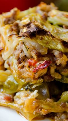 Unstuffed Cabbage Casserole ~ The very easy shortcut of stuffed cabbage rolls.