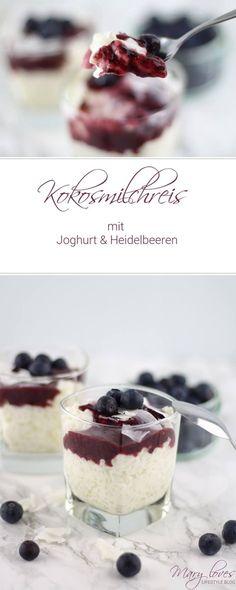 Rezept - Kokosmilchreis mit Joghurt und Heidelbeeren - Dessert - Nachtisch - Milchreis - Heidelbeersauce - Kokos Entdeckt von Vegalife Rocks: www.vegaliferocks.de✨ I Fleischlos glücklich, fit & Gesund✨ I Follow me for more inspiration @vegaliferocks