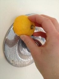 Remove water marks and hard water build up on your faucets...use a lemon cut in half and rub all over the hardware...wipe clean!  It's AMAZING! My husband and i both spent 3 years scrubbing our kitchen faucet with harsh chemicals and never got the results I got using a lemon.
