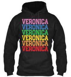 Veronica Rainbow Colors Black Sweatshirt Front