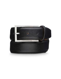 Belgravia belt - Men's belt in Saffiano leather. Features rectangular metal buckle. Width: 3.5 cm.