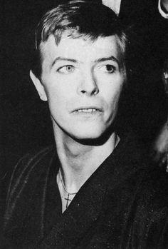 David Bowie wearing a kimono attending the premier of Just A Gigolo, Prince Charles cinema, London, 14 February 1979