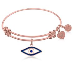 Expandable Bangle in Pink Tone Brass with Evil Eye Symbol