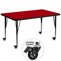 Mobile 36''W x 72''L Rectangular Activity Table with Red Thermal Fused Laminate Top and Height Adjustable Preschool Legs