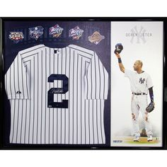ab3afc5ee22 Derek Jeter Signed New York Yankees Home Jersey Framed w Career Tribute  Canvas in Sports Mem