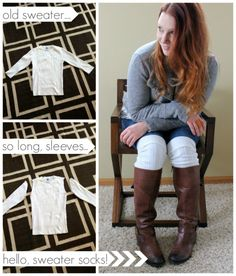DIY cable-knit boot socks made from old sweater sleeves! by All Things G&D #allthingsgd