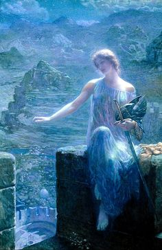 The Valkyres Vigil  -  by Edward Robert Hughes (depicting the dreadful Norse war goddess in an ethereal fairy painting)