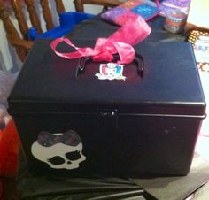 DIY Monster High doll box- made from an old sewing box.